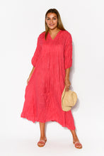 Berry Crinkle Cotton Pleat Dress