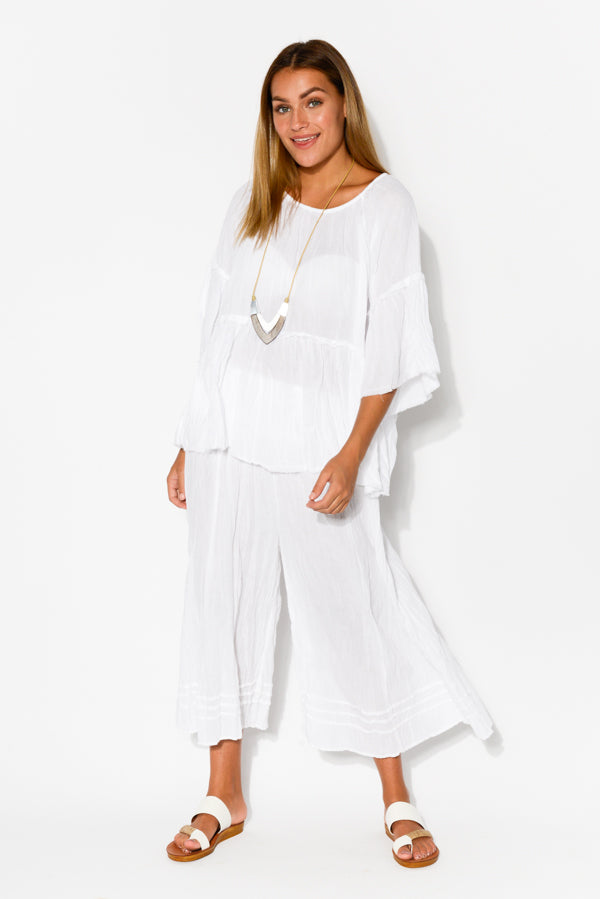 White Crinkle Cotton Bell Sleeve Top - Blue Bungalow