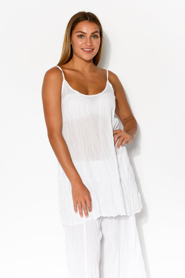White Crinkle Cotton Singlet Top - Blue Bungalow
