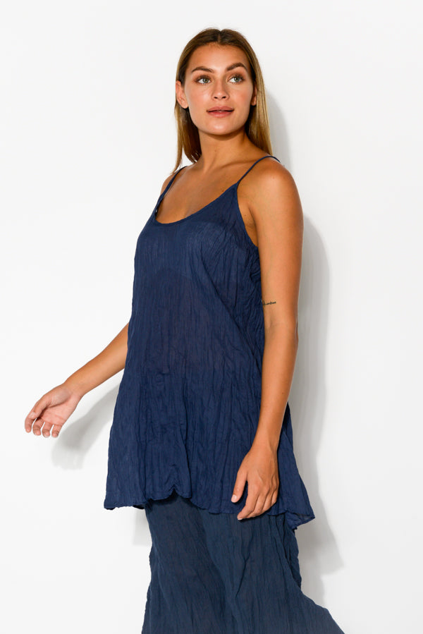 Navy Crinkle Cotton Singlet Top - Blue Bungalow
