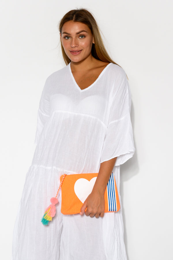 Heart Orange Canvas Clutch