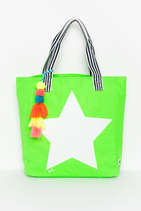 Star Green Medium Canvas Tote - Blue Bungalow