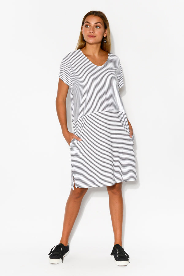 Black Stripe Shell Cotton Dress