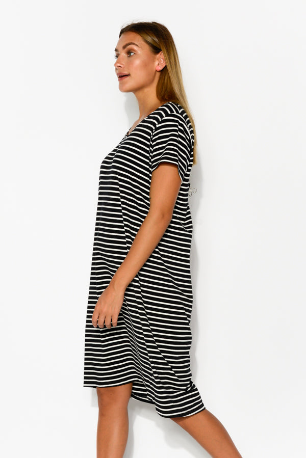 Luca Black Stripe Tee Dress