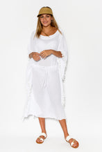White Crinkle Cotton Tassel Kaftan