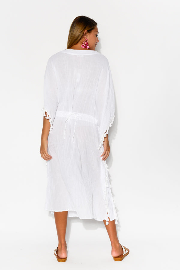 White Crinkle Cotton Tassel Kaftan - Blue Bungalow