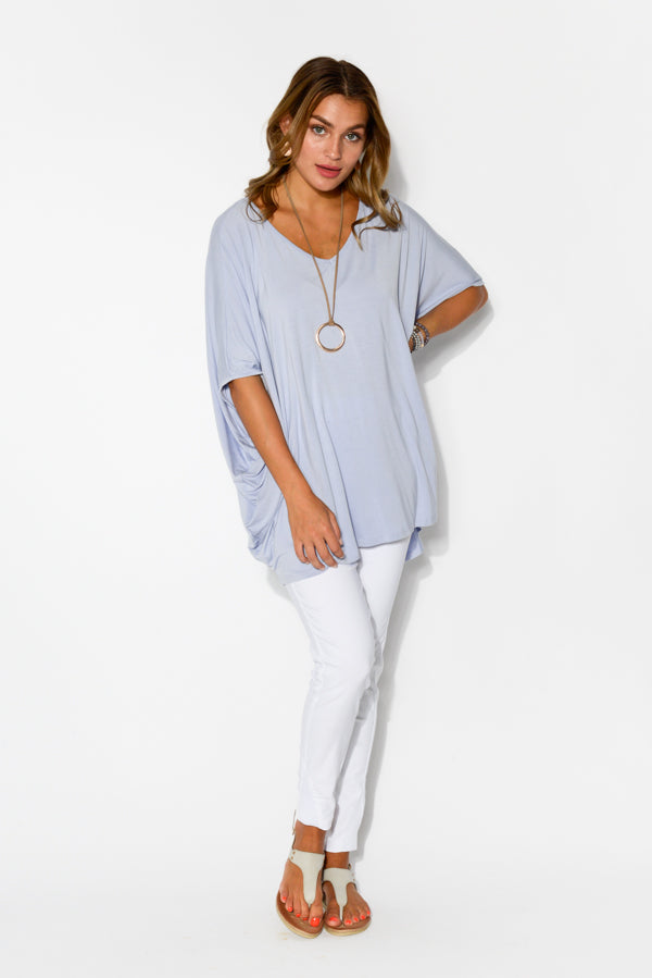 Emory Blue Bamboo Hi-Lo Batwing Top - Blue Bungalow