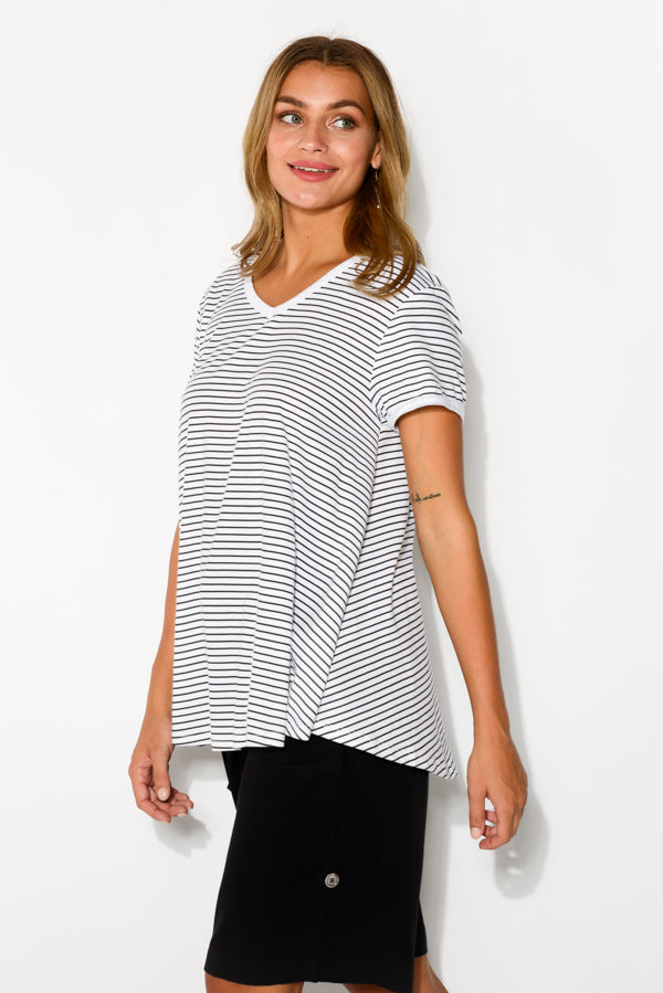 Black Stripe Cotton Bamboo Swing Tee