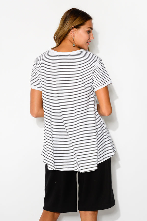 Black Stripe Cotton Bamboo Swing Tee - Blue Bungalow