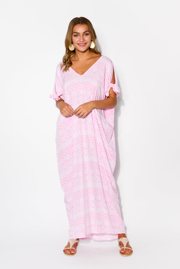 Mykonos Pink Aztec Cold Shoulder Kaftan - Blue Bungalow