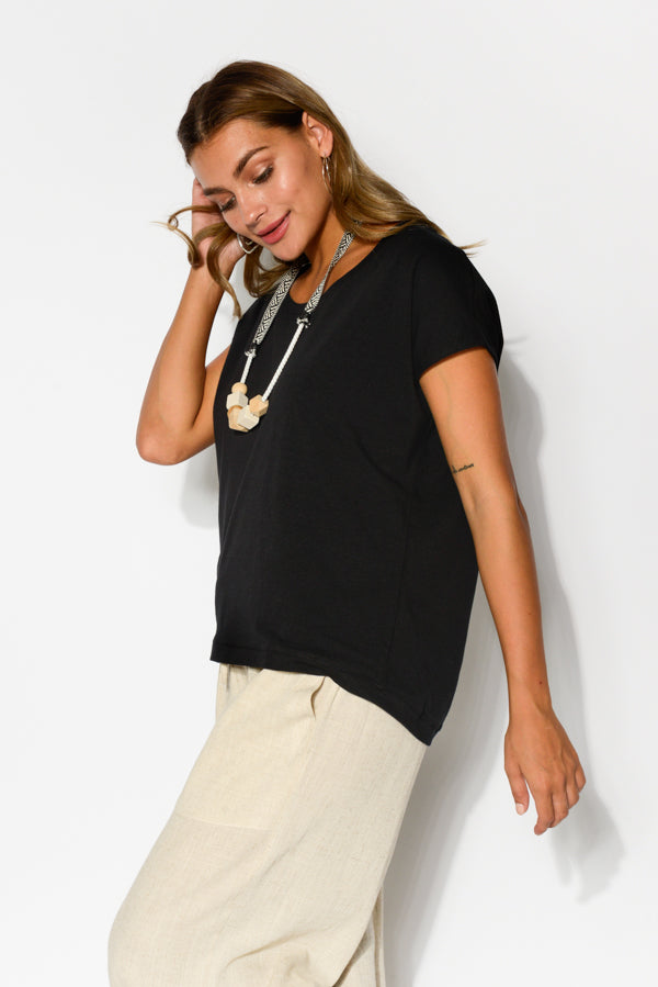Black Oversized Shell Tee - Blue Bungalow