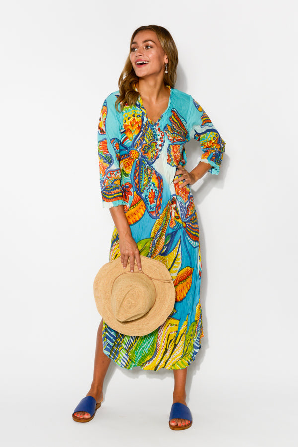 Cinque Terre Crinkle Cotton Midi Dress - Blue Bungalow