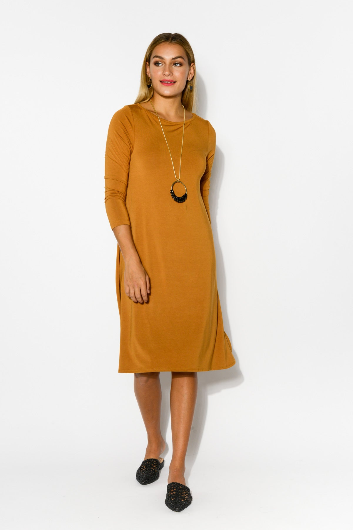 Cher Caramel Bamboo Sleeved Dress - Blue Bungalow
