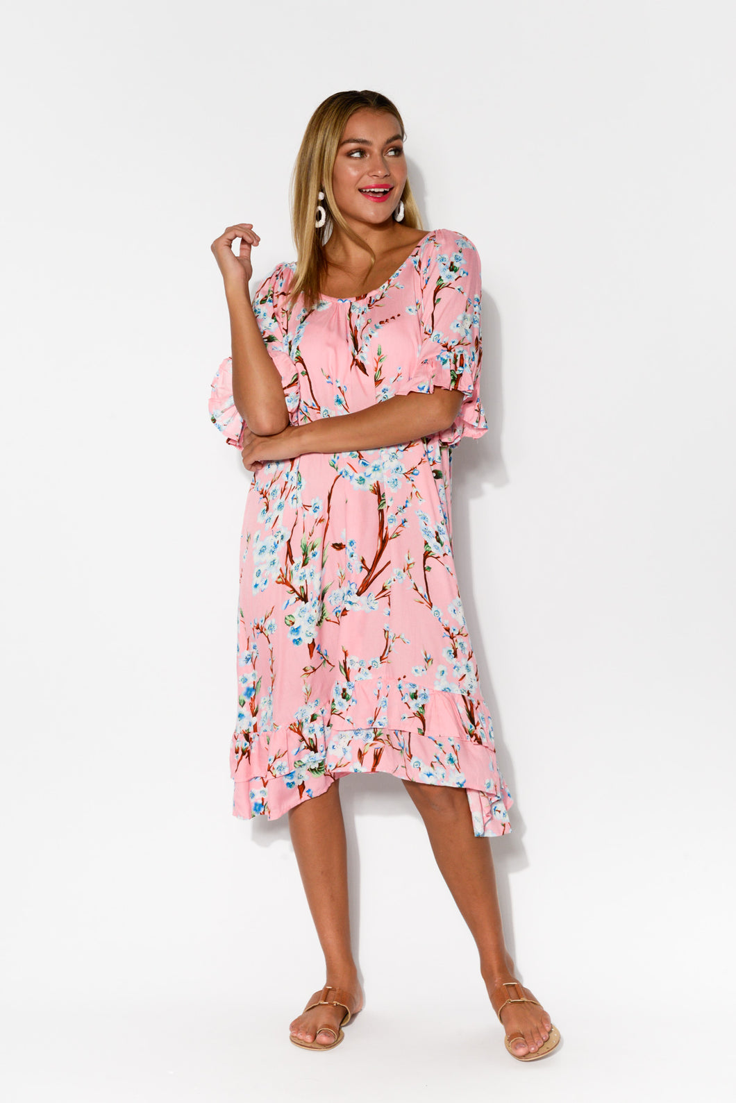 Charlotte Pink Floral Ruffle Dress - Blue Bungalow