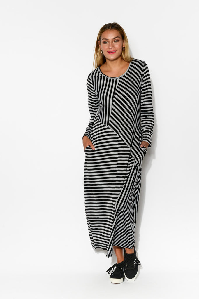 857a55fb6a0 Leisa Black and Grey Stripe Maxi Dress