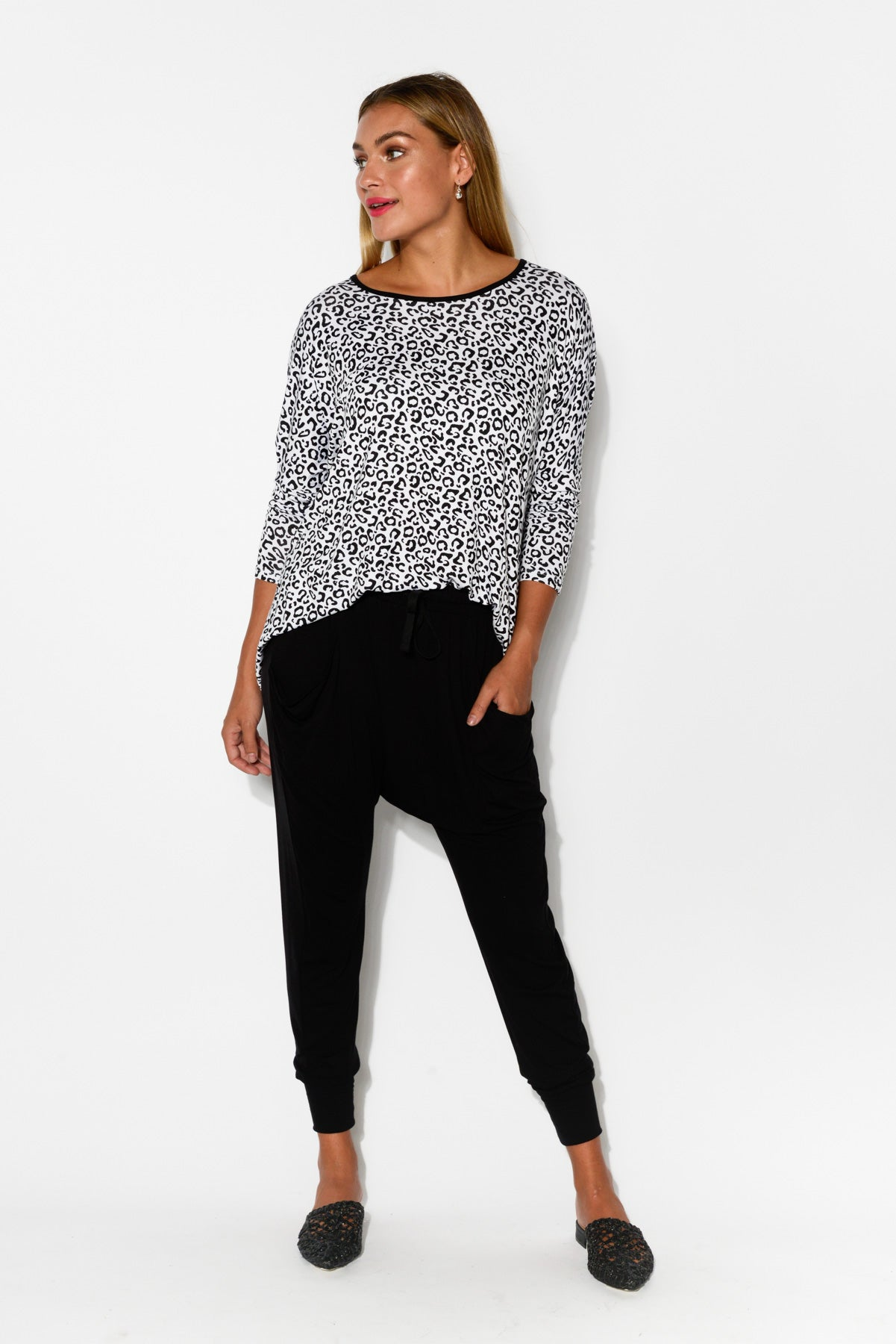 White Leopard Milan 3/4 Sleeve Top - Blue Bungalow