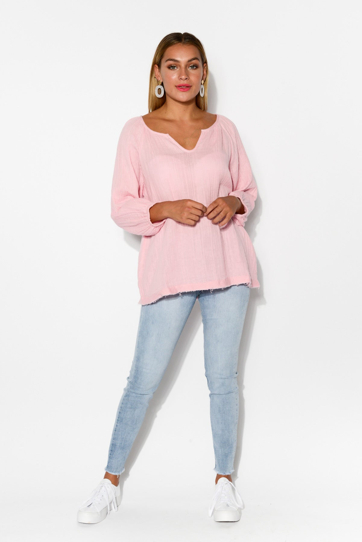 Prim Pink Crinkle Cotton Top - Blue Bungalow