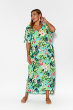 Mykonos Green Flamingo Cold Shoulder Kaftan - Blue Bungalow
