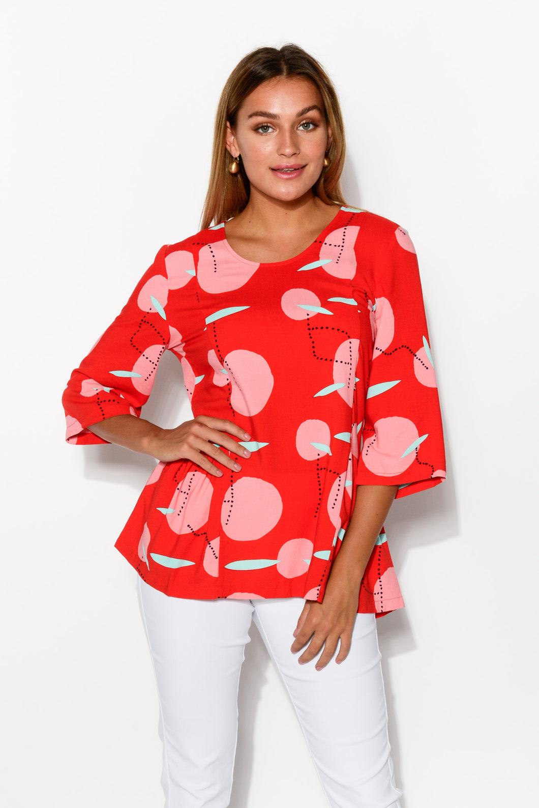 Luna Red 3/4 Sleeve Top - Blue Bungalow