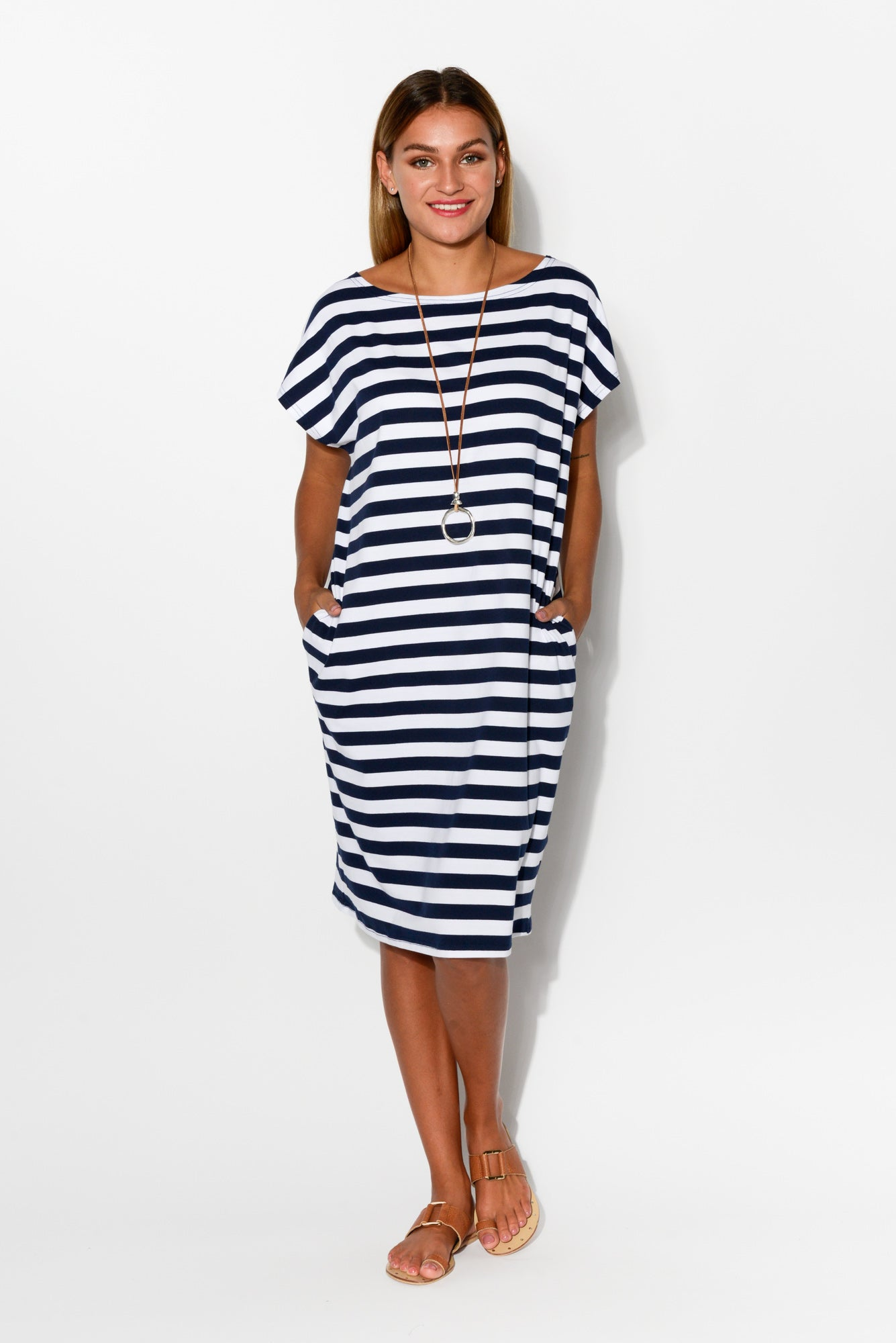 Navy Stripe Cotton Tee Dress - Blue Bungalow