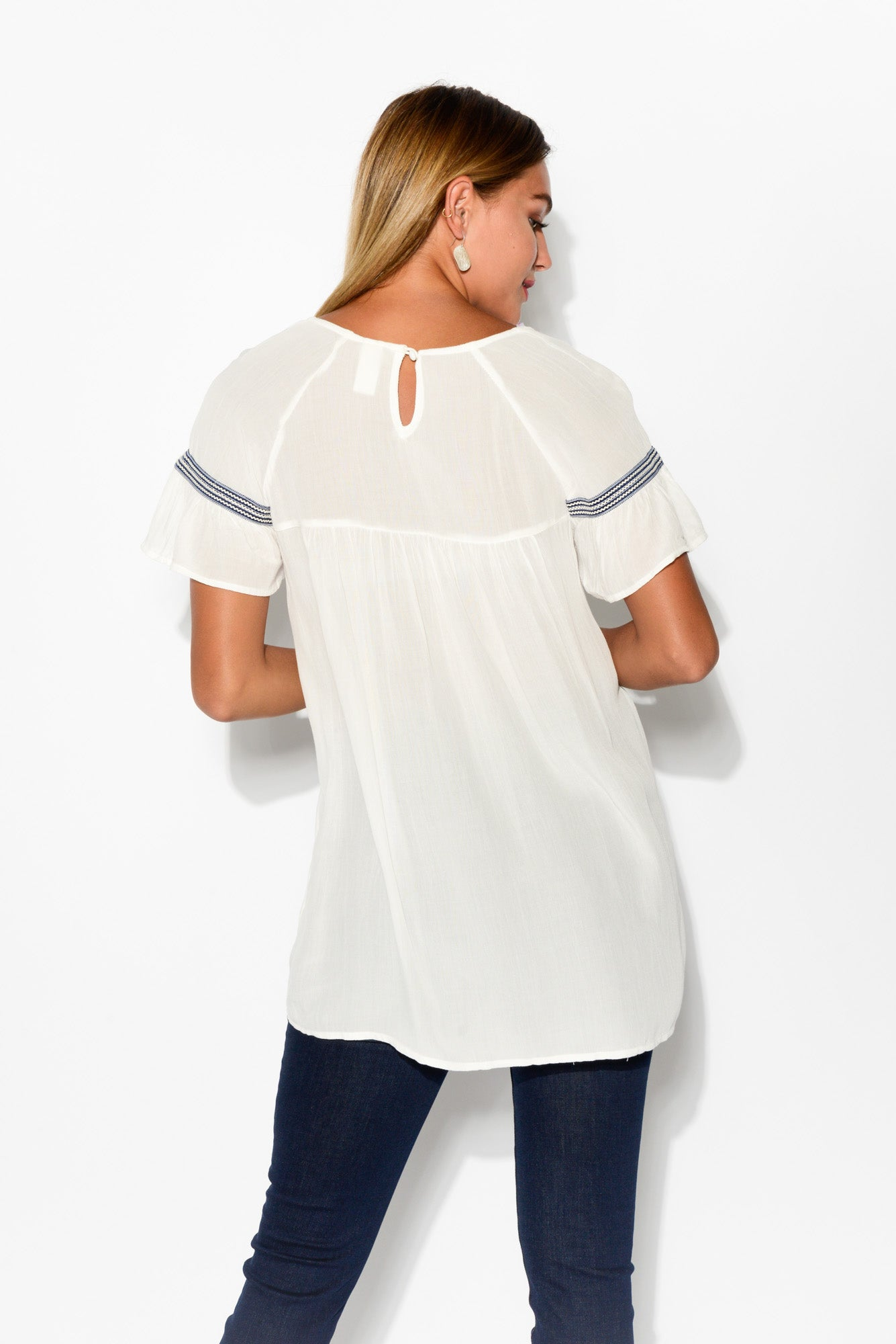 Bliss White Embroidered Top - Blue Bungalow