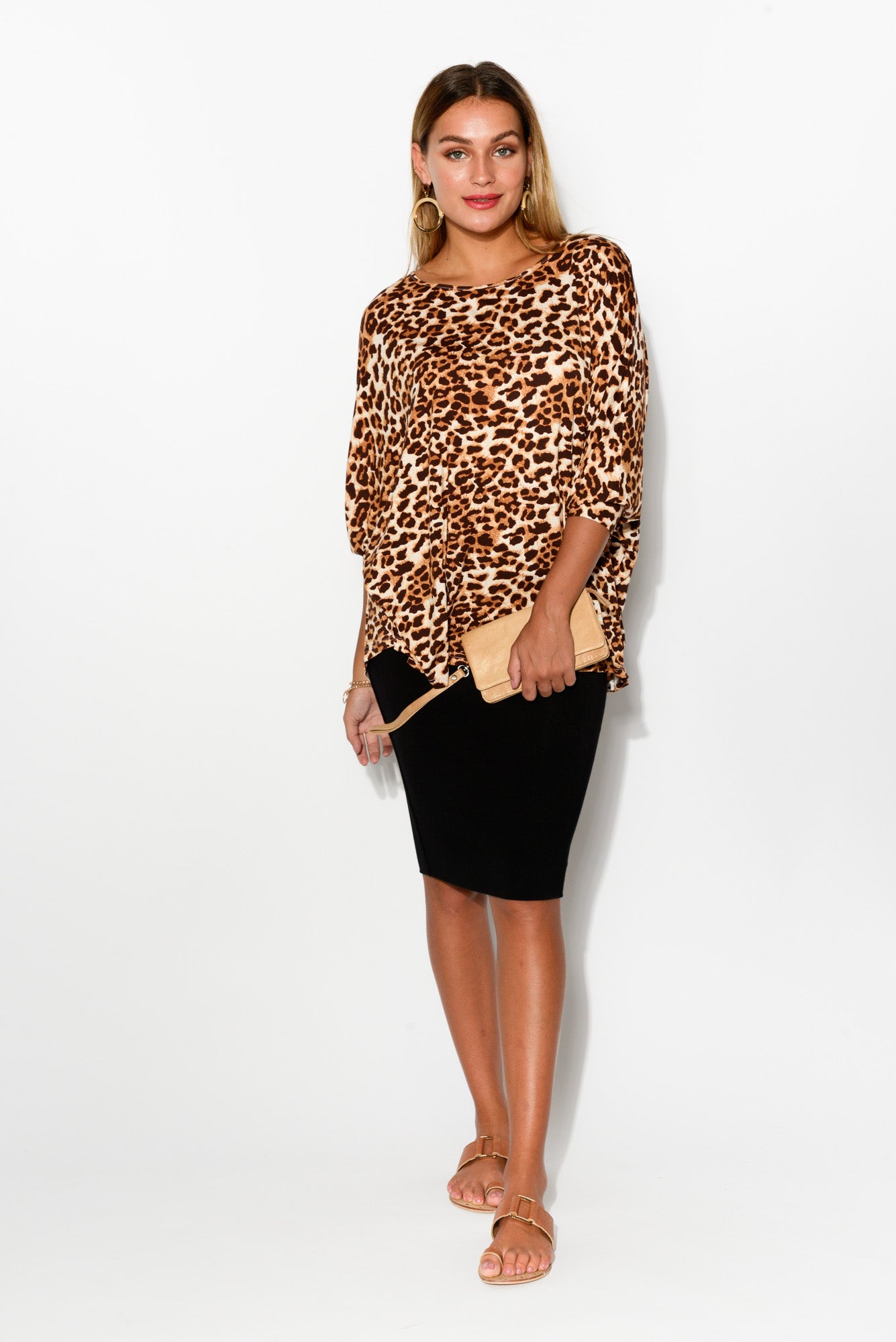 Piper Leopard Batwing Top - Blue Bungalow