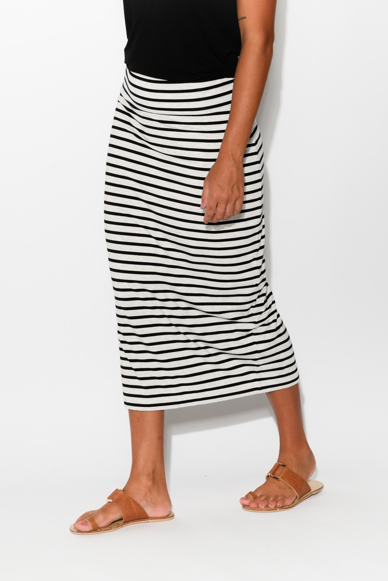 Grey Stripe Bamboo Maxi Tube Skirt - Blue Bungalow