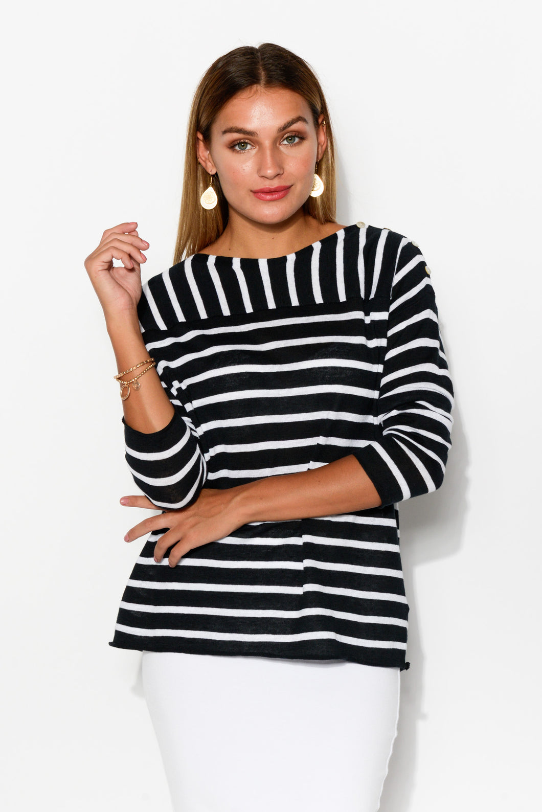 Breton Navy Stripe Linen Blend Knit - Blue Bungalow