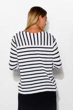 Breton White Stripe Linen Blend Knit - Blue Bungalow