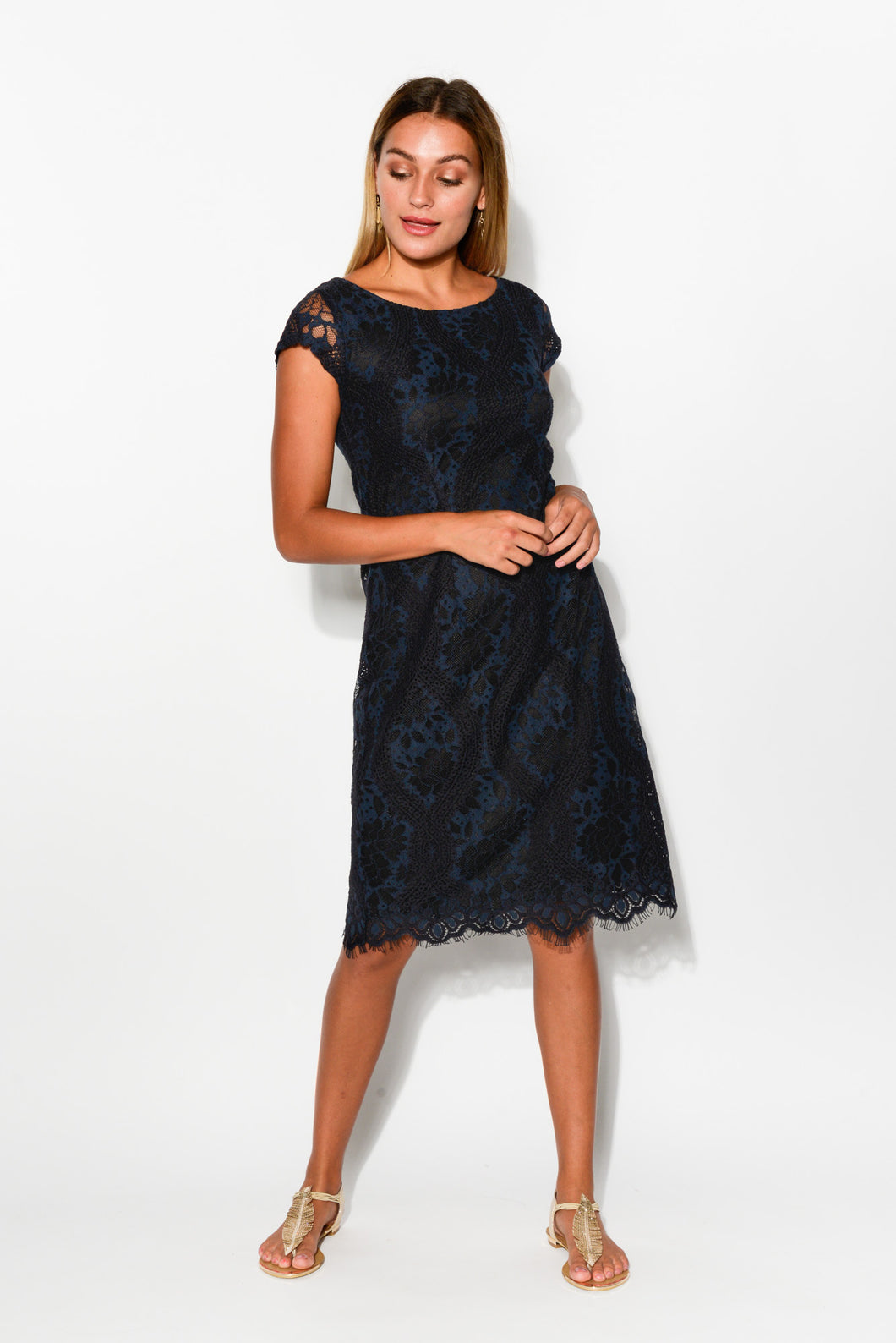 Merida Blue Lace Dress - Blue Bungalow