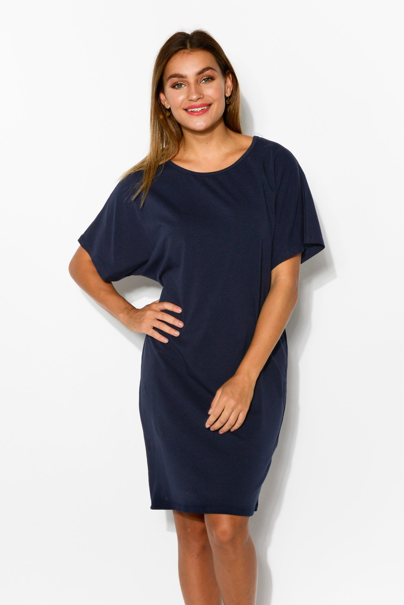Dorothy Navy Drape Tee Dress - Blue Bungalow