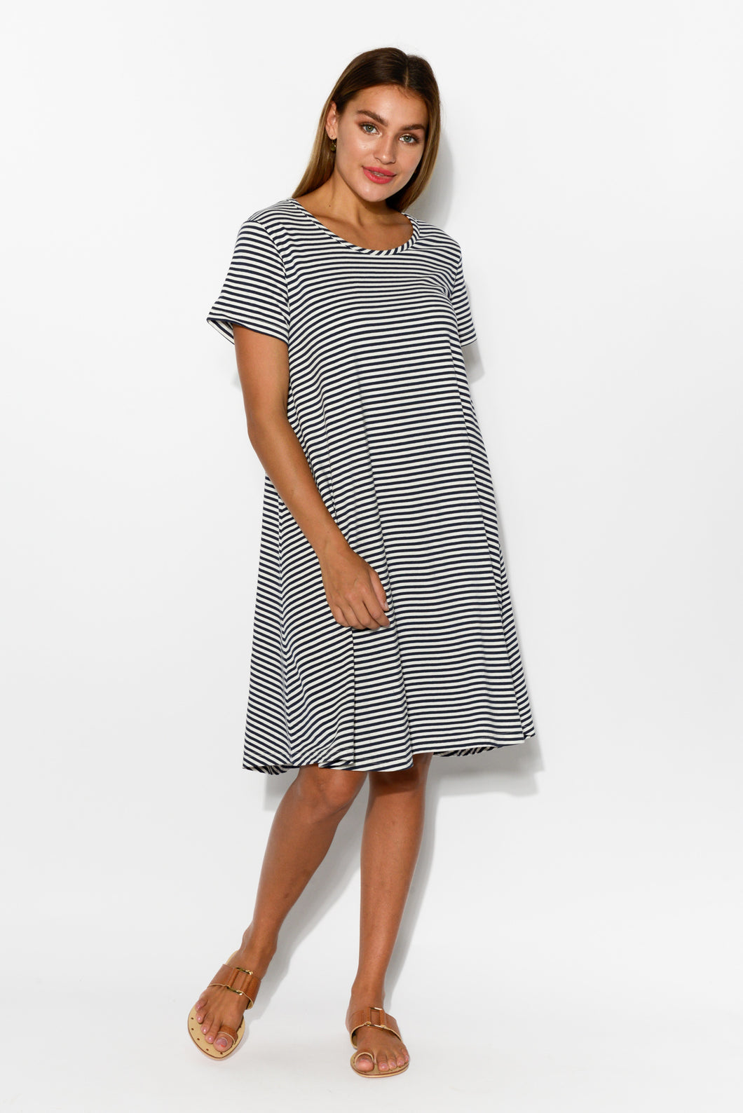 Alice Stripe Swing Tee Dress - Blue Bungalow