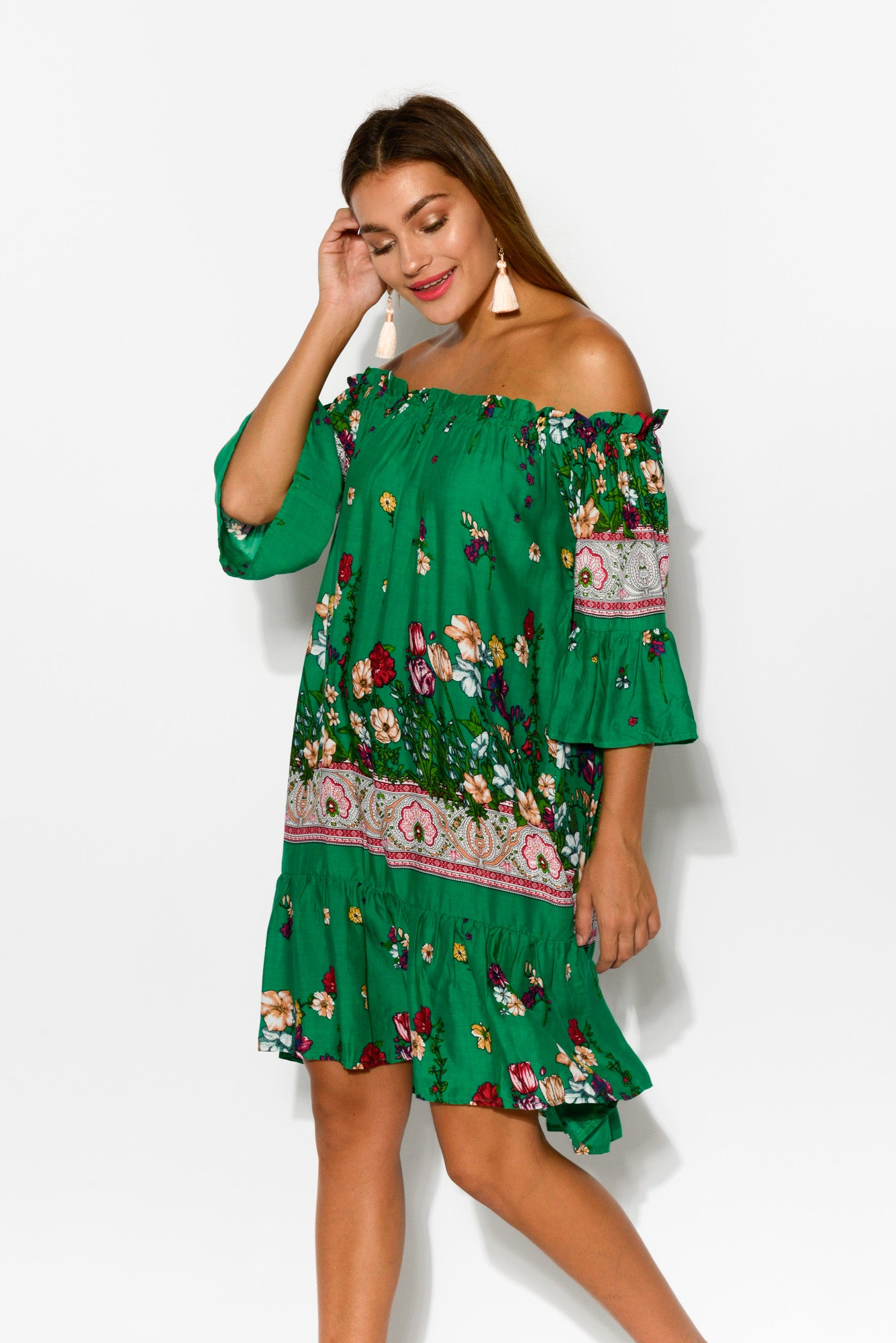 Moss Floral Off Shoulder Dress - Blue Bungalow