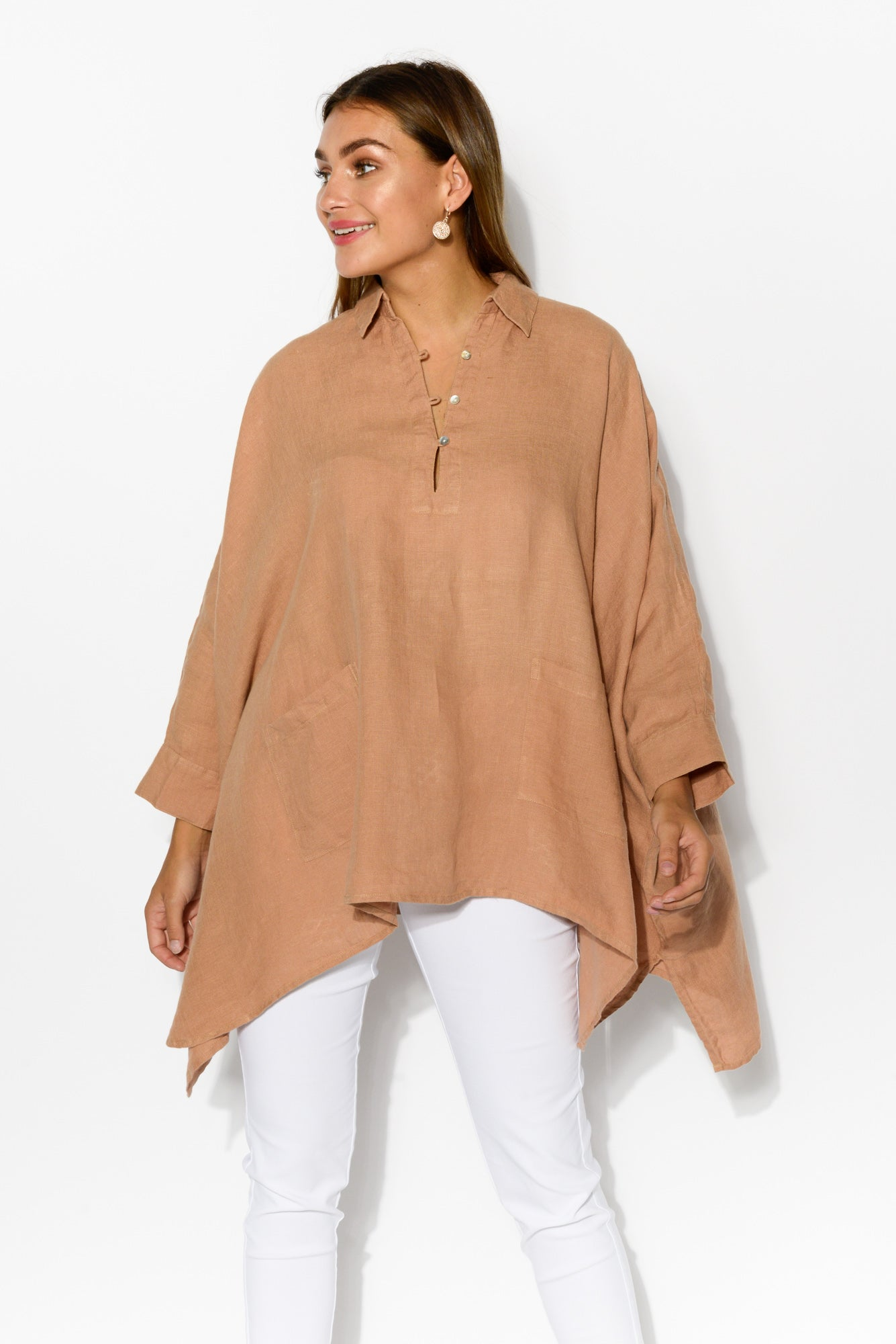 Frankie Tan Linen Top - Blue Bungalow