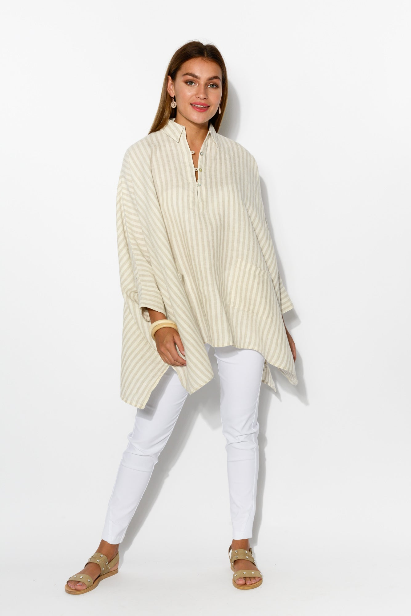 Frankie Natural Stripe Linen Top