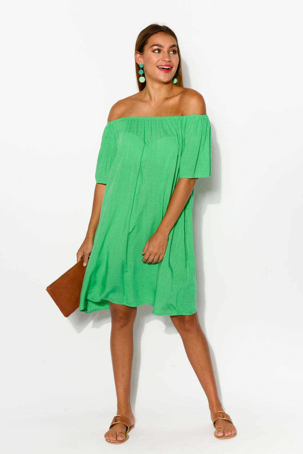 Lauren Green Off Shoulder Dress - Blue Bungalow