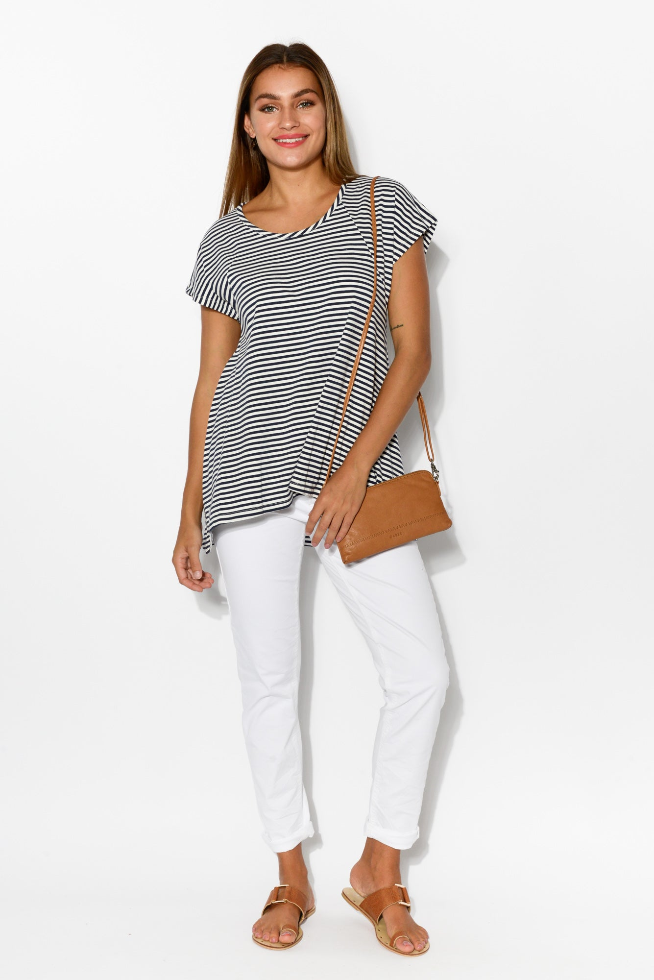 Charlotte Stripe Swing Tee - Blue Bungalow