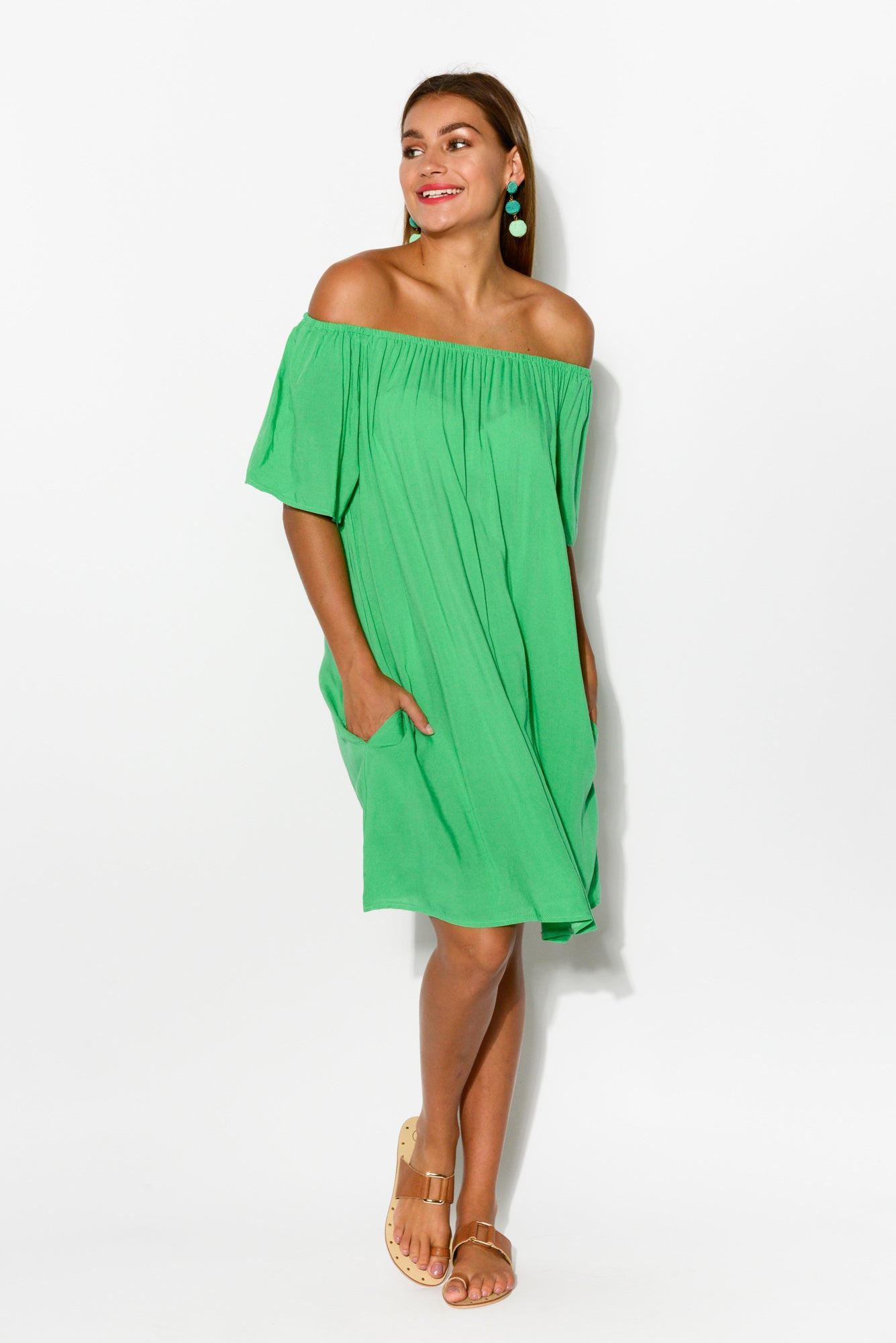 Lauren Green Off Shoulder Dress