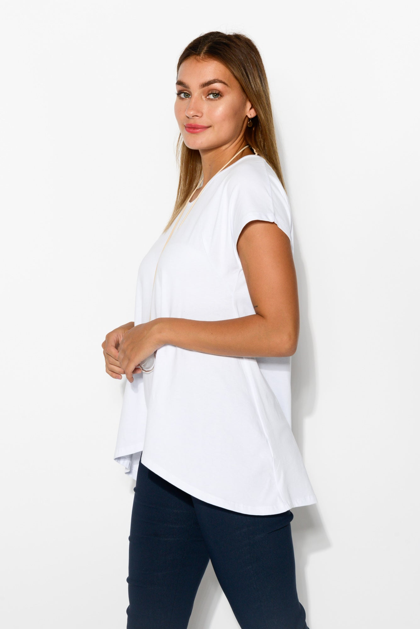 Charlotte White Swing Tee - Blue Bungalow