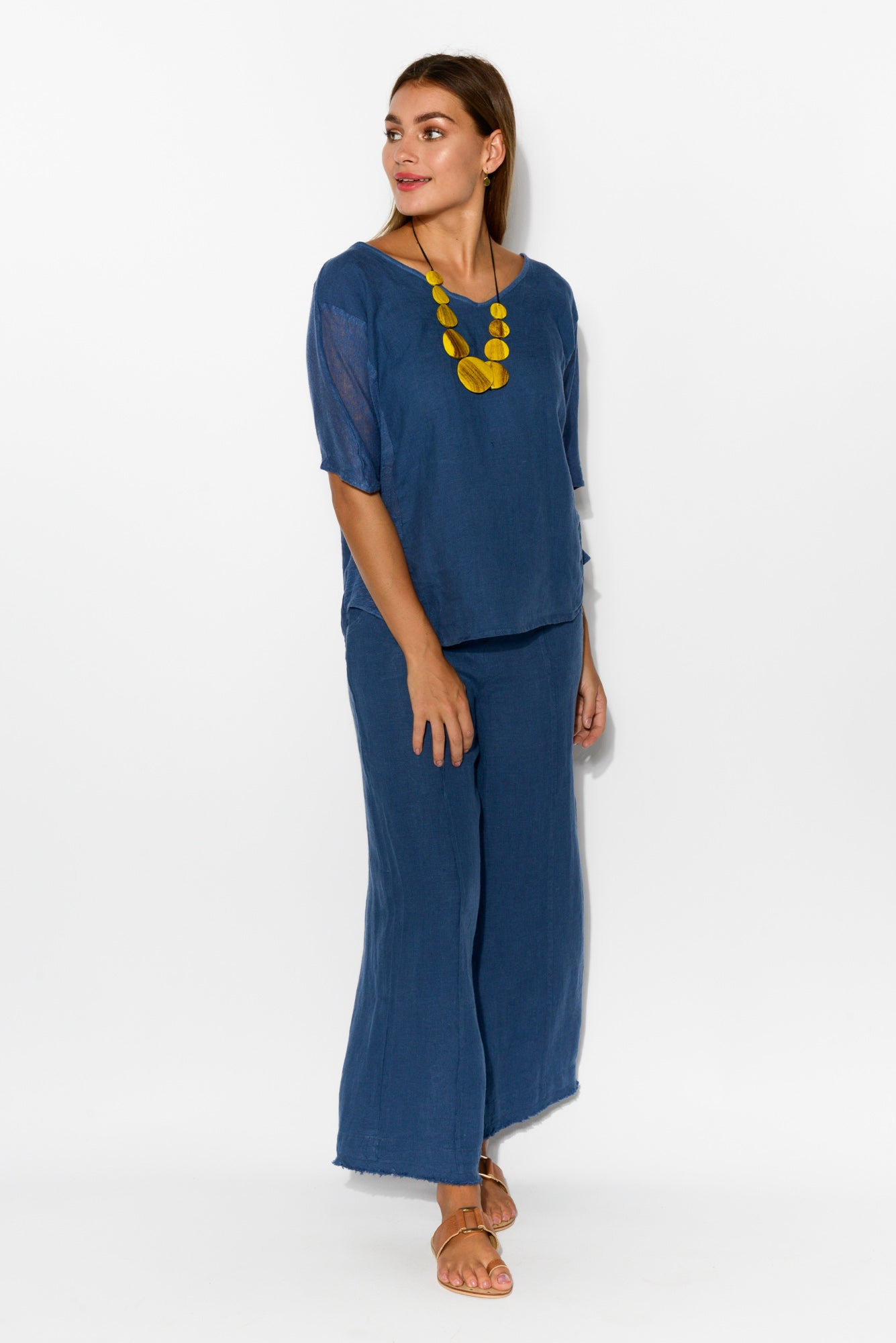 Livorno Blue Linen Top - Blue Bungalow