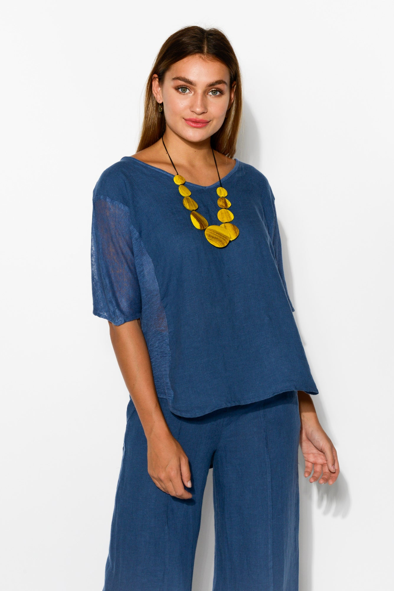 Livorno Blue Linen Top