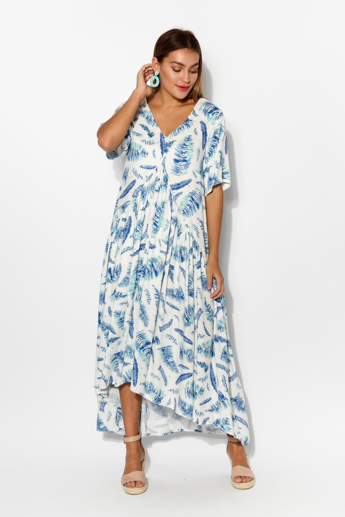 Garden Palm Peak Maxi Dress - Blue Bungalow