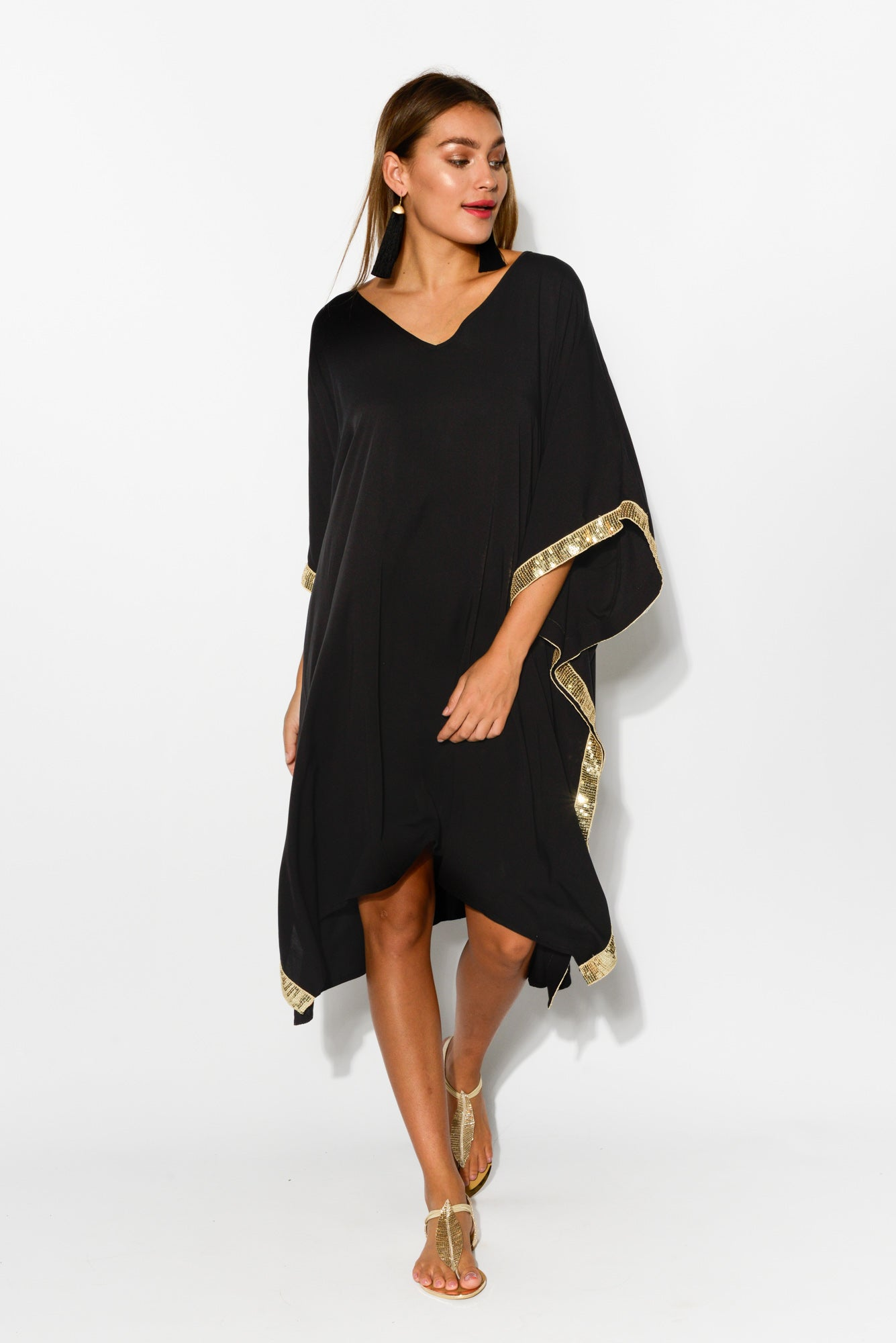 Evelyn Black Sequin Kaftan Dress