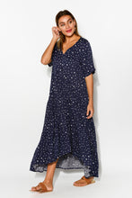Navy Spot Peak Maxi Dress