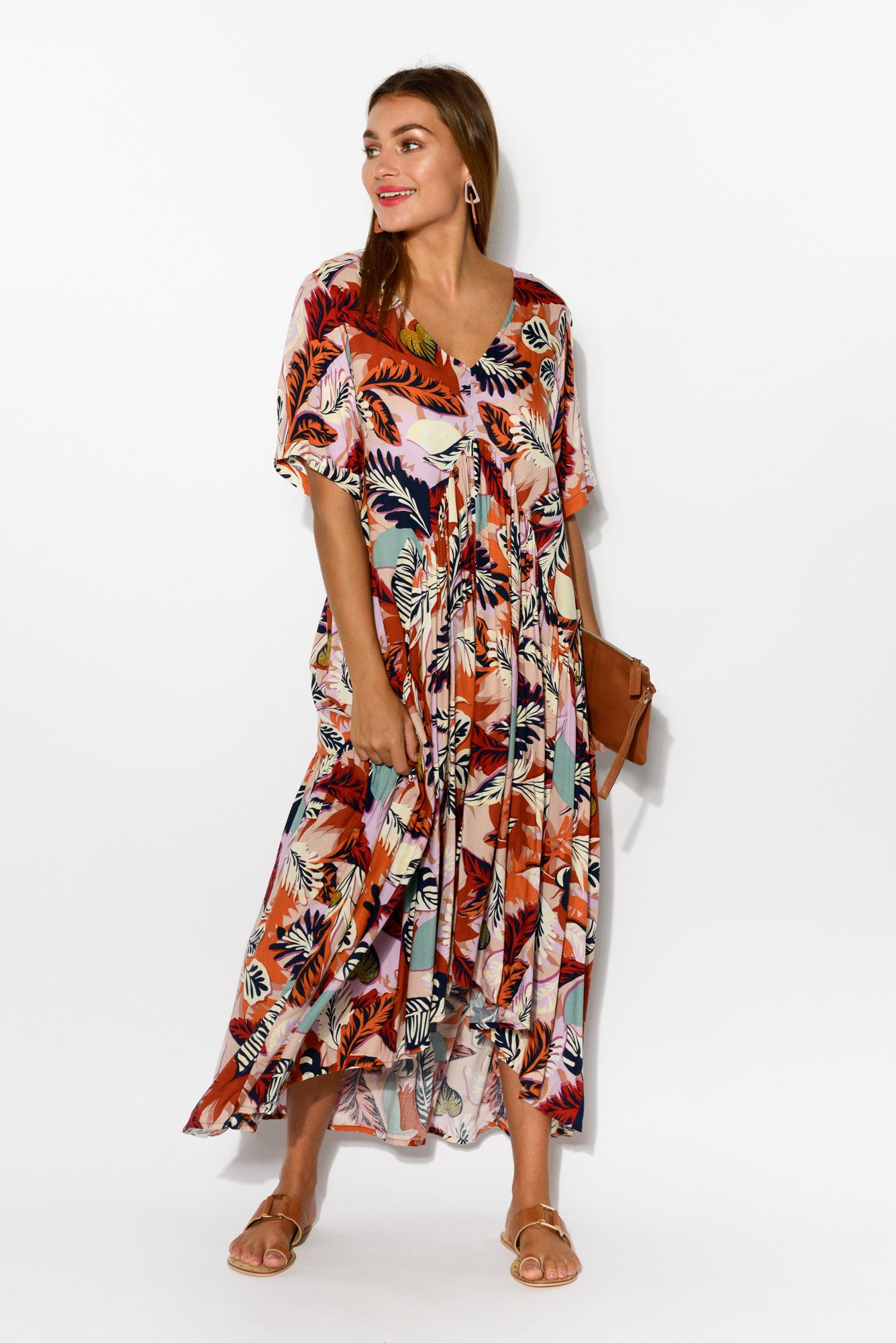 Autumn Leaf Peak Maxi Dress - Blue Bungalow