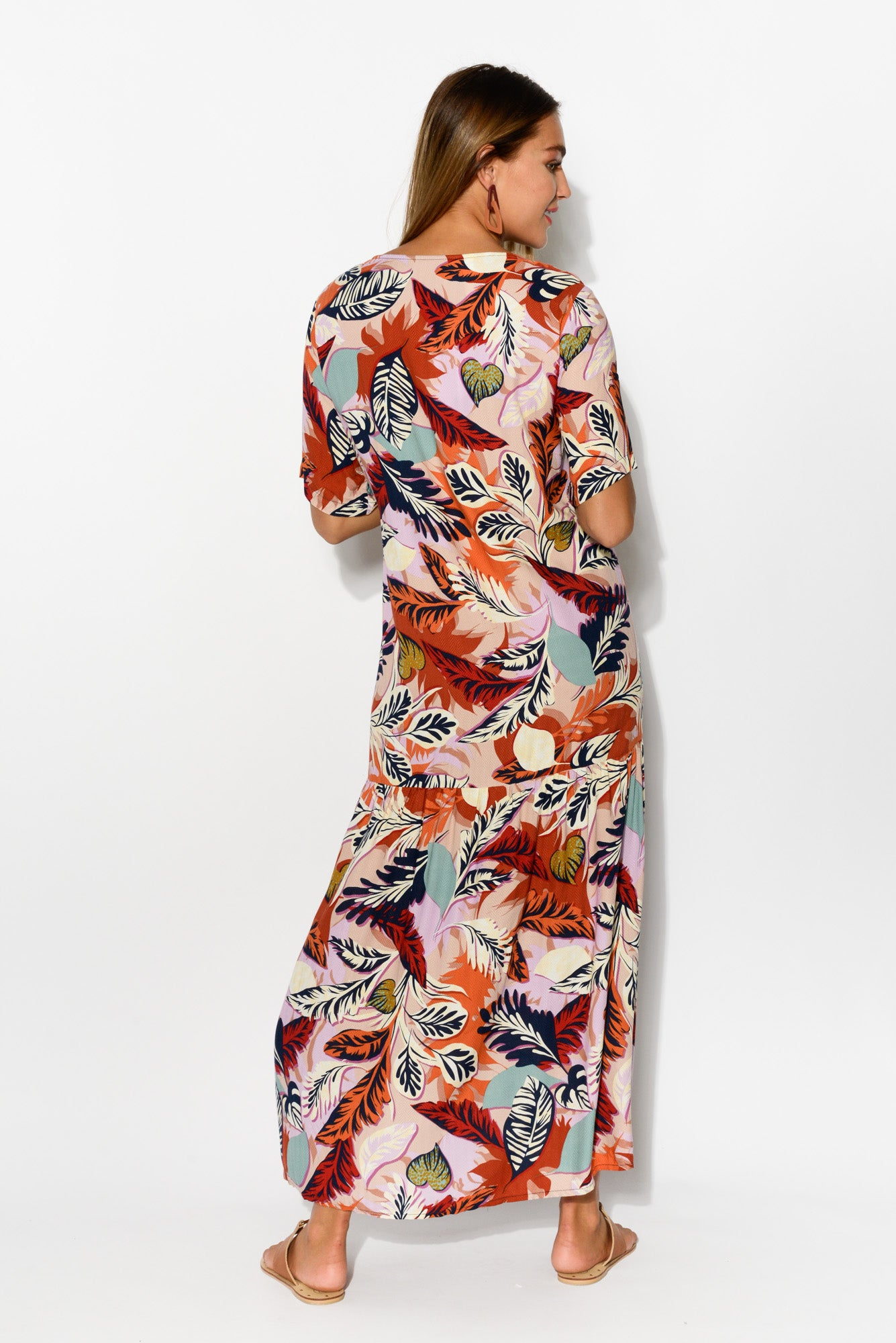 Autumn Leaf Peak Maxi Dress