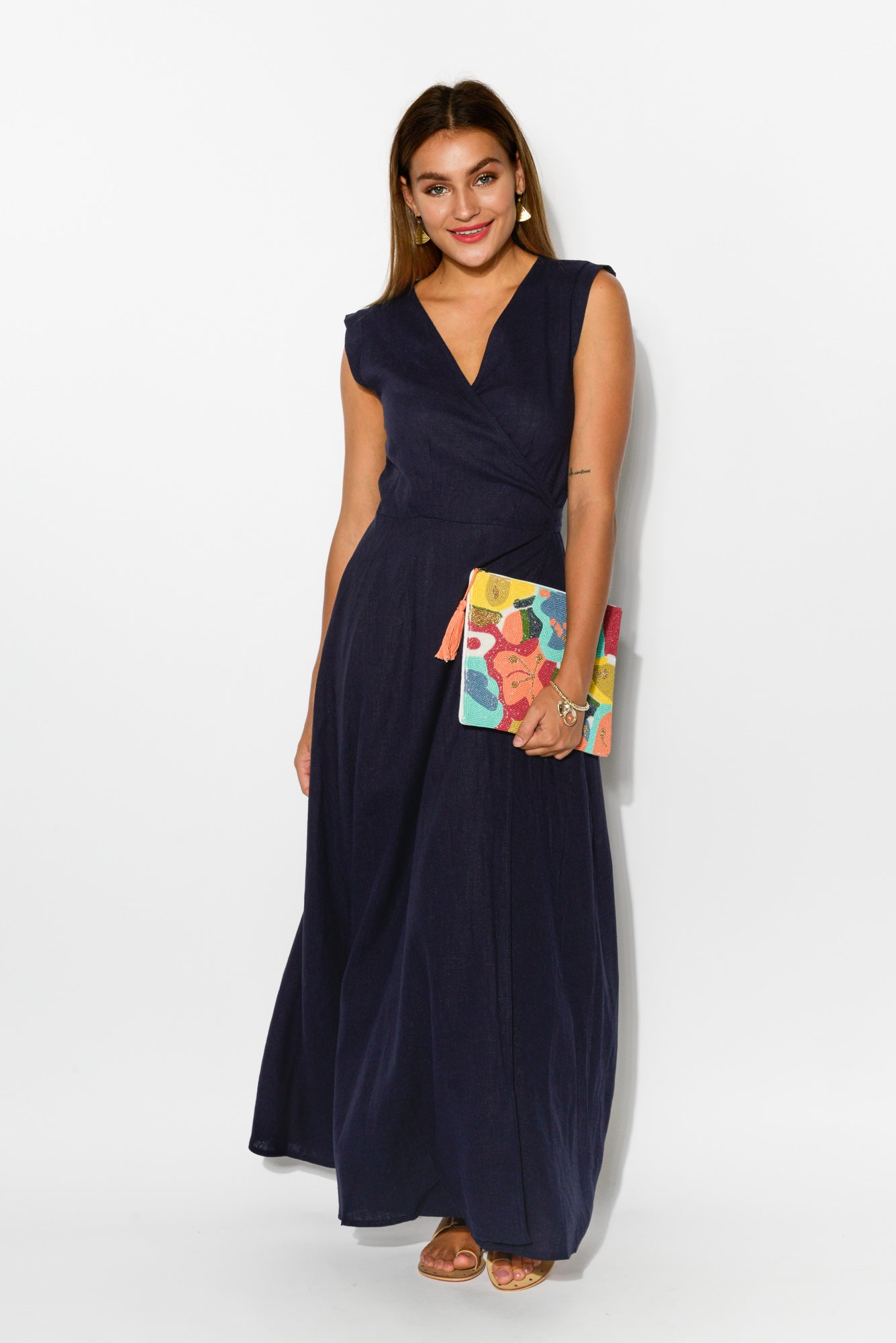 Poppy Navy Linen Cotton Wrap Dress - Blue Bungalow
