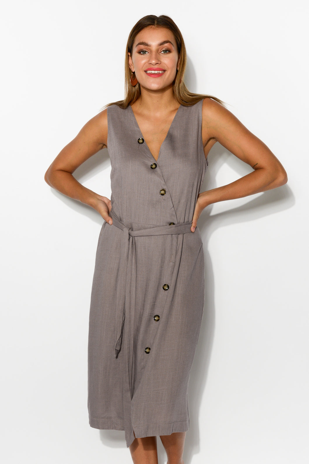 Tinley Grey Linen Cotton Wrap Dress - Blue Bungalow
