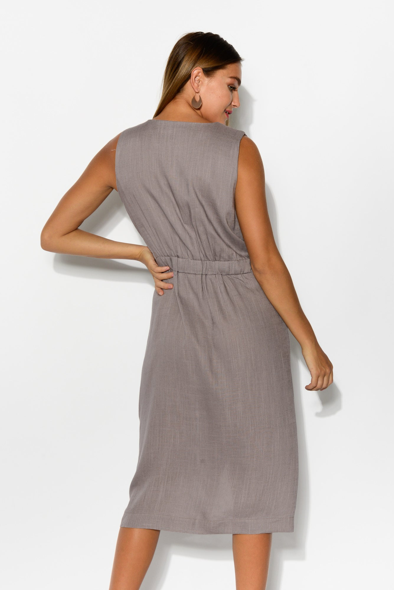 Tinley Grey Linen Cotton Wrap Dress