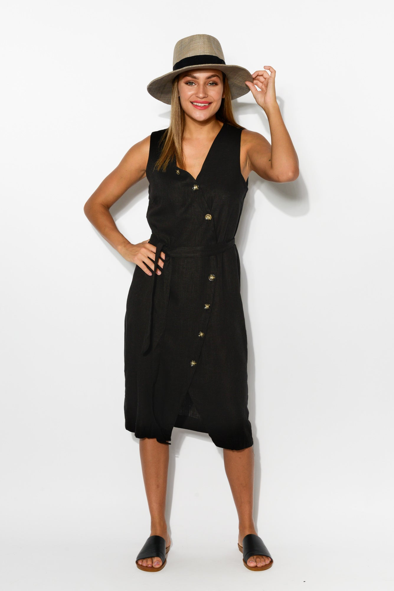 Tinley Black Linen Cotton Wrap Dress - Blue Bungalow